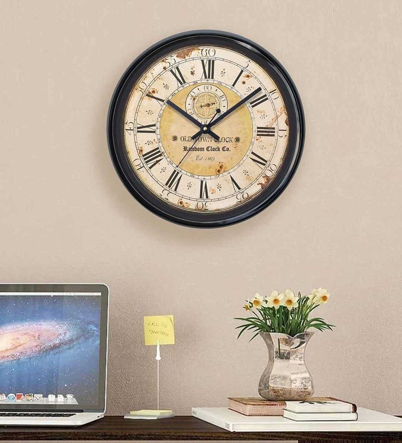 Black Plastic 12 x 2 x 12 Inch Imagine Wall Clock by Random