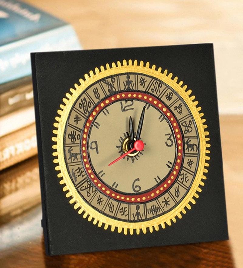 Black Recycled Wood Warli Handpainted Desk clock by ExclusiveLane