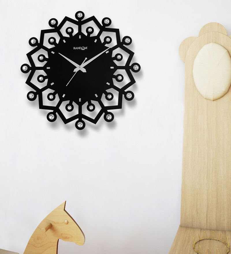 Black Wood 14.5 x 2 x 14.5 Inch Winner Wooden Wall Clock by Random