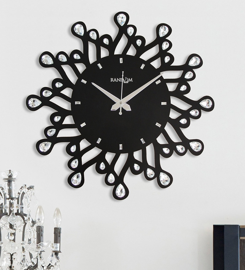 Black Wood 15 x 2 x 15 Inch Jewels Wave Wall Clock by Random
