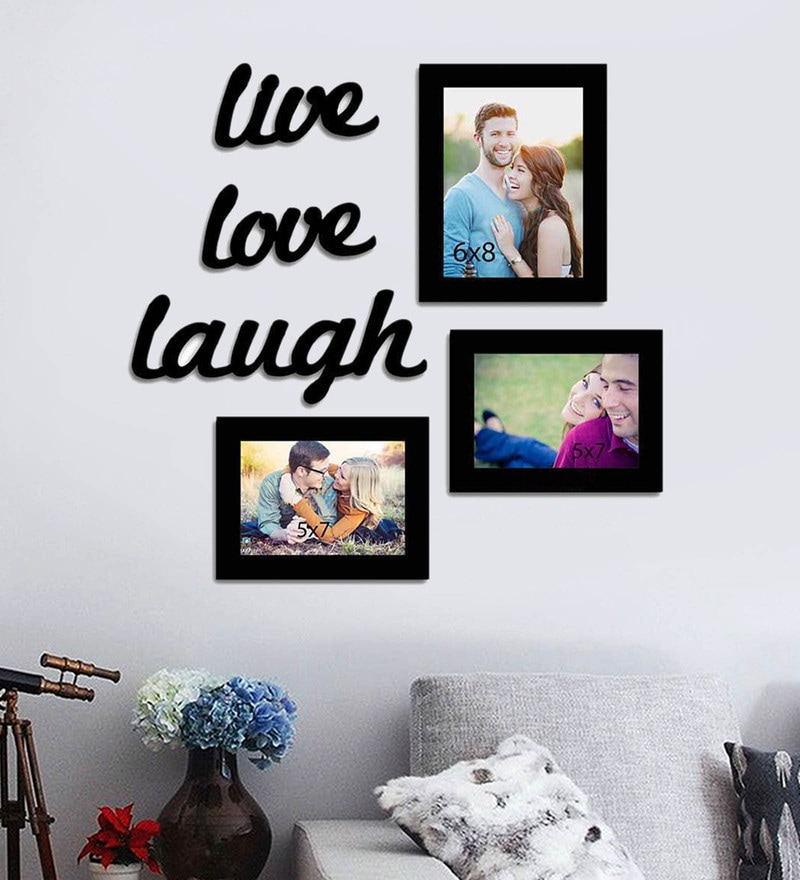 Buy Black Synthetic Wood wall photo frame set of 4 By Art