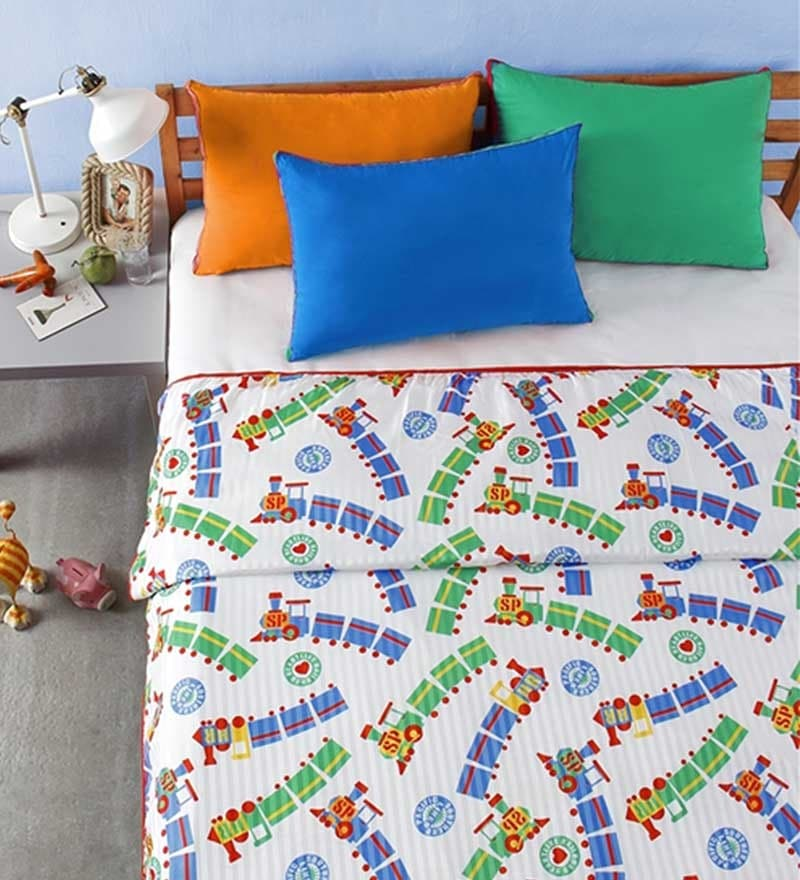 Train Print Multicolour Microfibre Abstract Double Dohar by Bliss