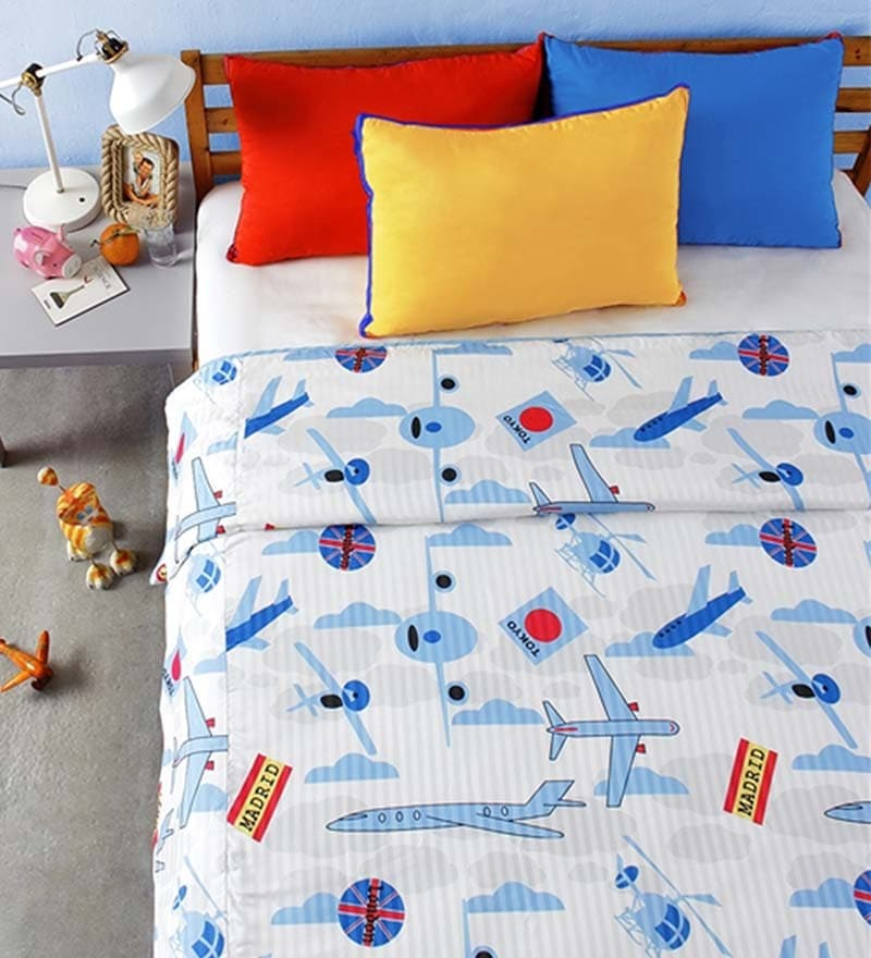 Planes Multicolour Microfibre Abstract Double Dohar by Bliss