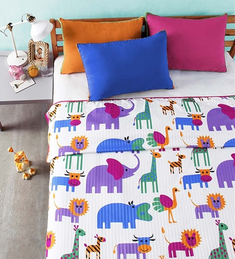 Animal Print Multicolour Microfibre Abstract Double Dohar by Bliss