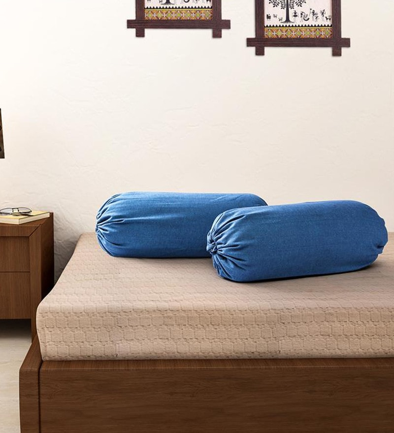 Blue 100% Cotton 15 x 30 Inch Bolster Cover - Set of 2 by Soumya