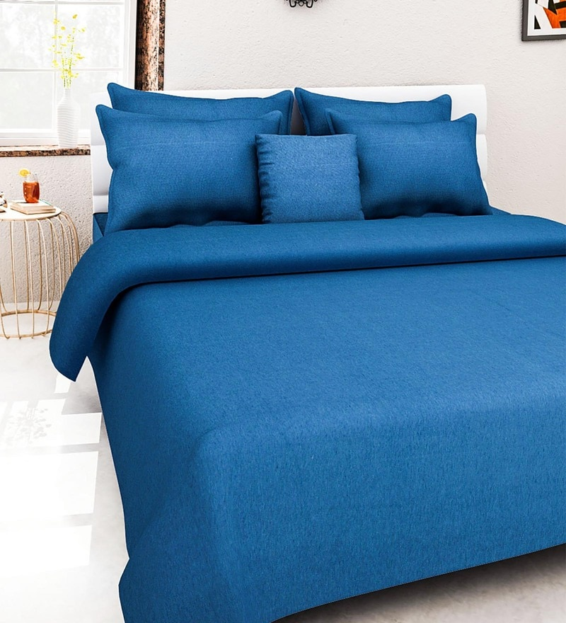 Blue 100% Cotton Queen Size Bed Cover - Set of 5 by Soumya