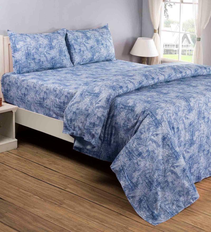 Blue 100% Cotton Queen Size Bedsheet - Set of 3 by Maspar