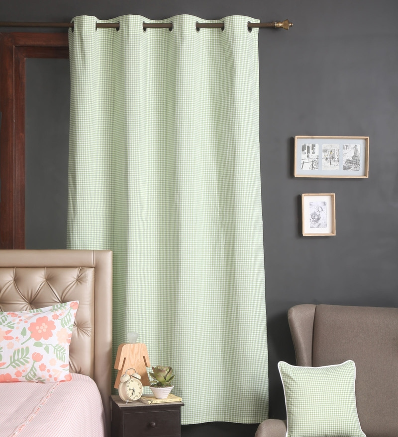 Green Cotton 56 x 84 Inch Checks Door Curtain by Blue Alcove