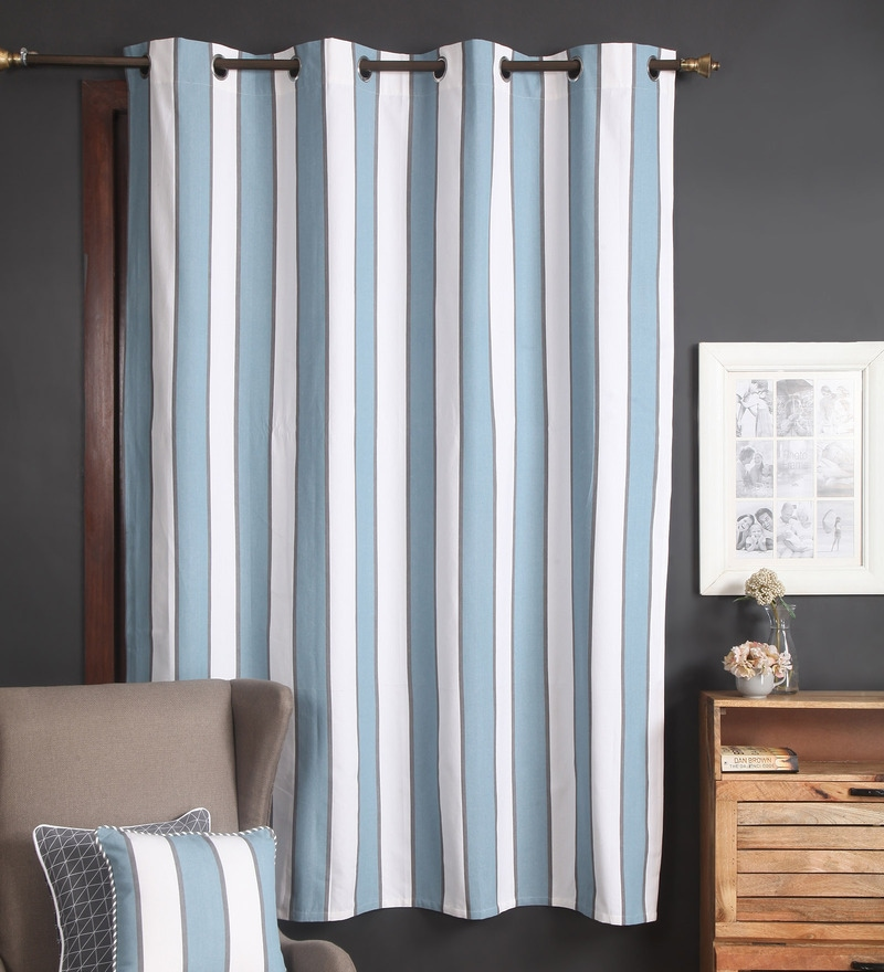 Navy Cotton 56 x 84 Inch Broad Stripes Door Curtain by Blue Alcove