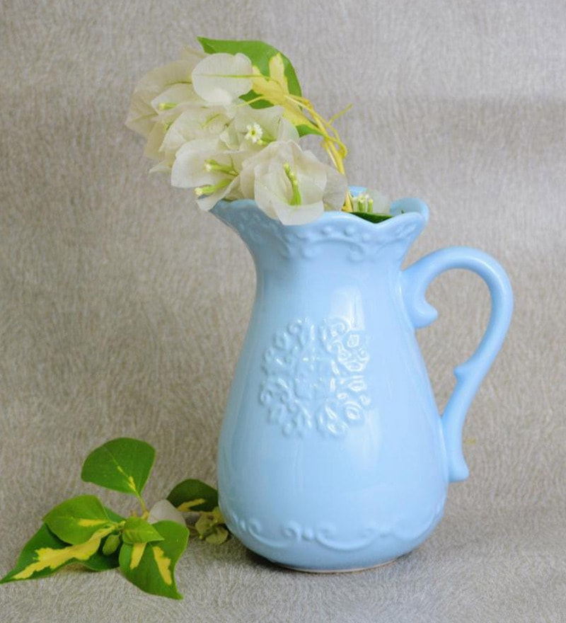 Blue Ceramic Extremely Pretty Vase by Nestroots