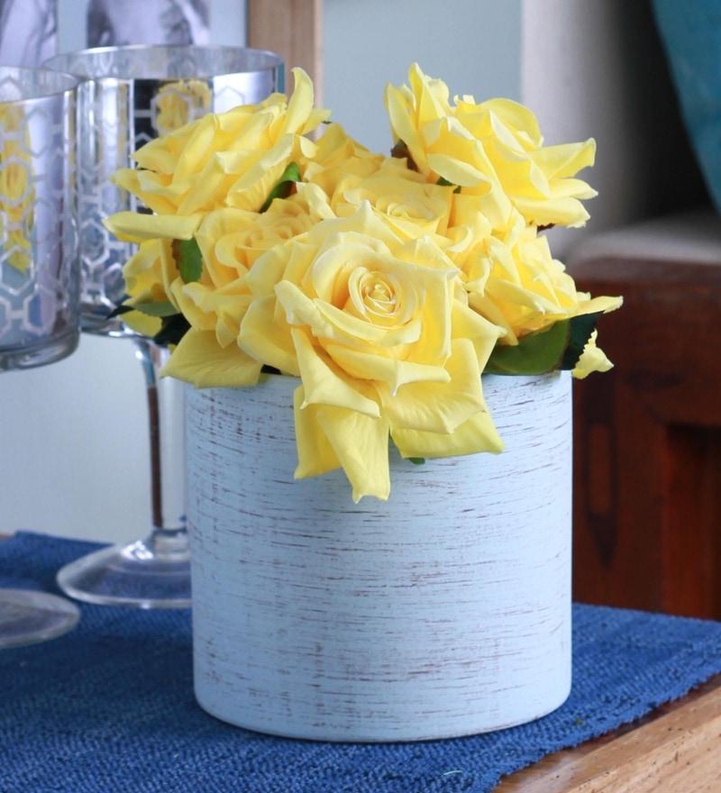 Blue Ceramic Flower Vase by Fourwalls