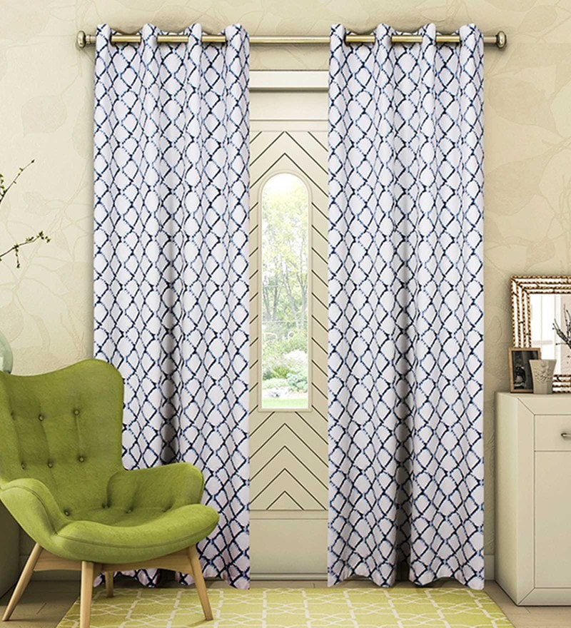 Blue Cotton 88 x 53 Inch Check Door Curtain - Set of 2 by Vista Home Fashion