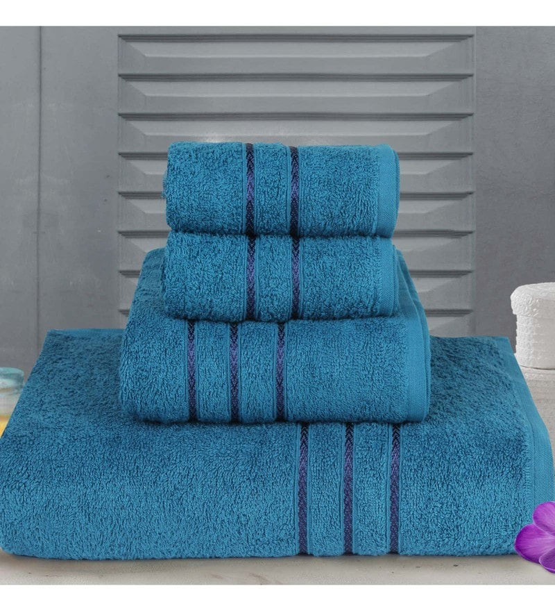 Blue Cotton Hand, Medium Bath & Regular Bath Towel - Set of 4 by Bombay Dyeing