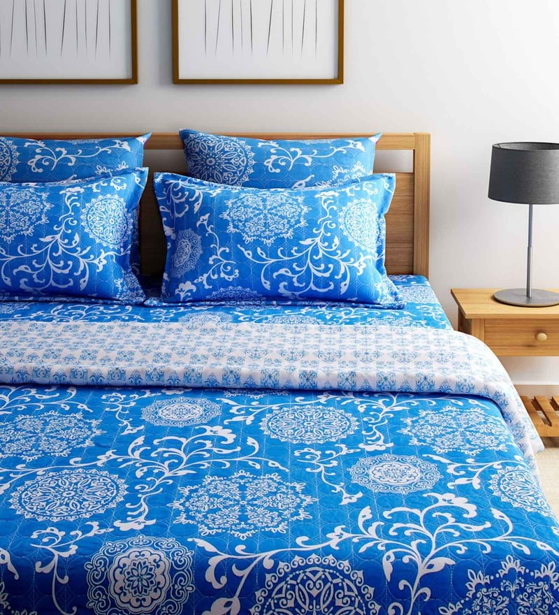 Blue Cotton King Size AC Comforter - Set of 5 by SWHF