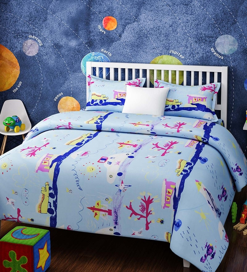 Blue Cotton Queen Size Abstract Crayon Sketch Kids Bedsheet - Set of 3 by Rago