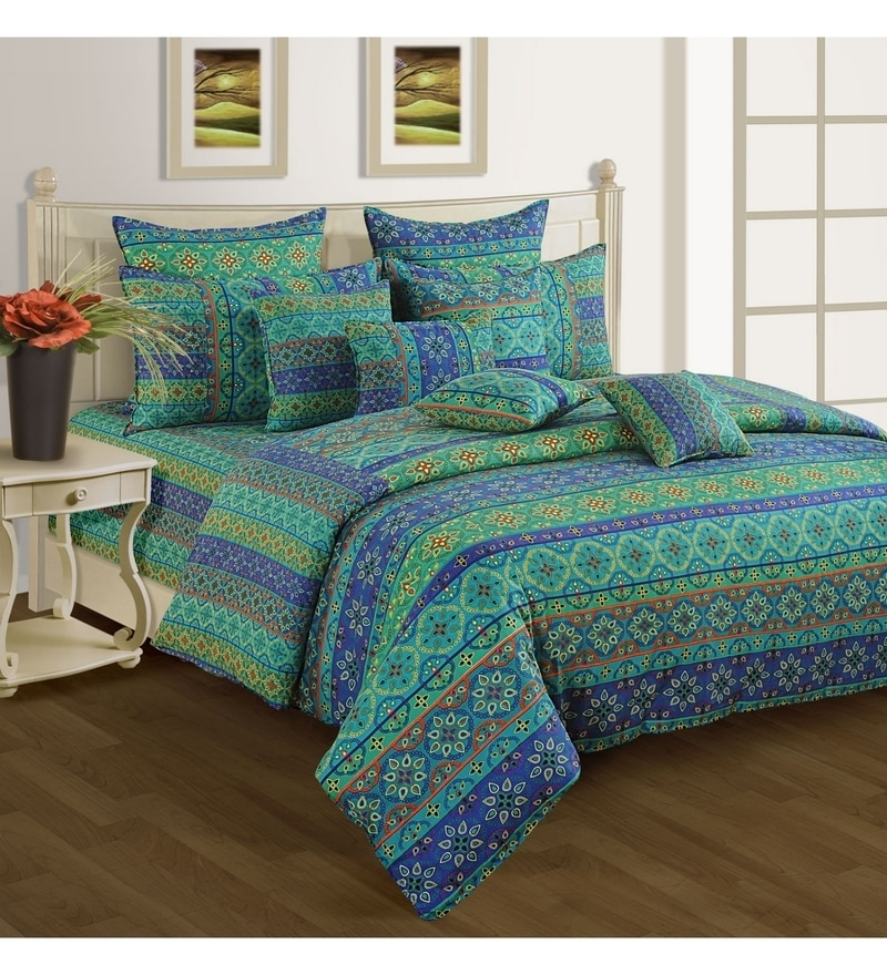 Blue Cotton Single Size Bedsheet - Set of 2 by Swayam