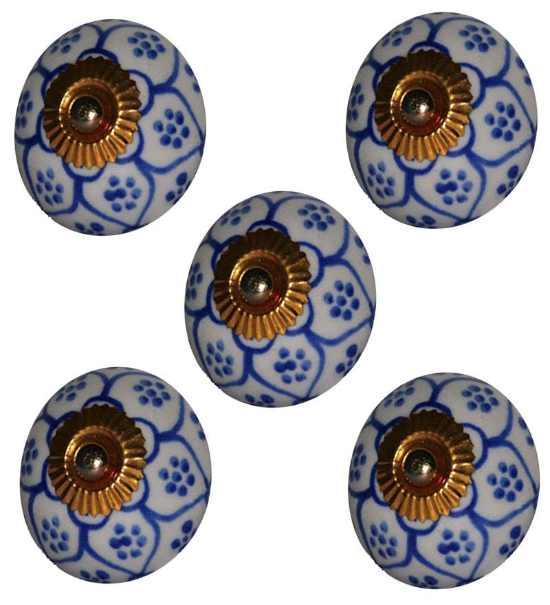 Blue Decor Ceramic Multicolour Door Knobs (Model No - Kn013 4)