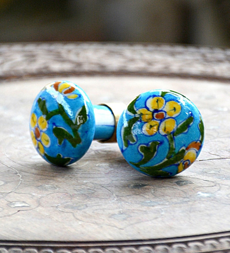Blue Decor Multicolour Ceremic & Blue Pottery Door Knobs  - Set of 6
