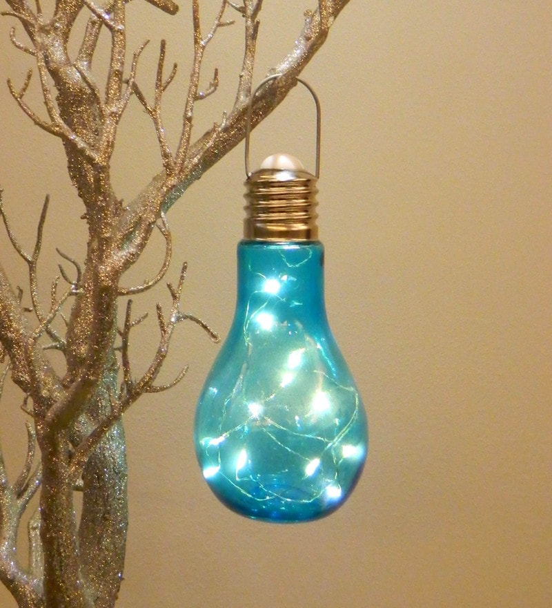 Blue Glass Led Festive Light by Tu casa