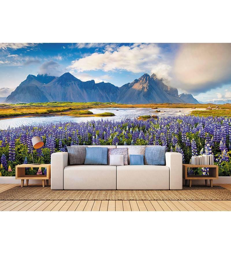 Blue Non Woven Paper Fields Of Beauty   Wallpaper by Wallskin