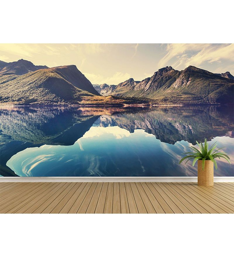 Blue Non Woven Paper The Mirror Of Nature Wallpaper by Wallskin