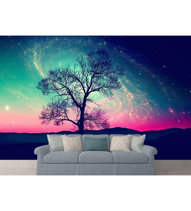 Blue Non Woven Paper The Tree And The Galaxy Wallpaper by Wallskin