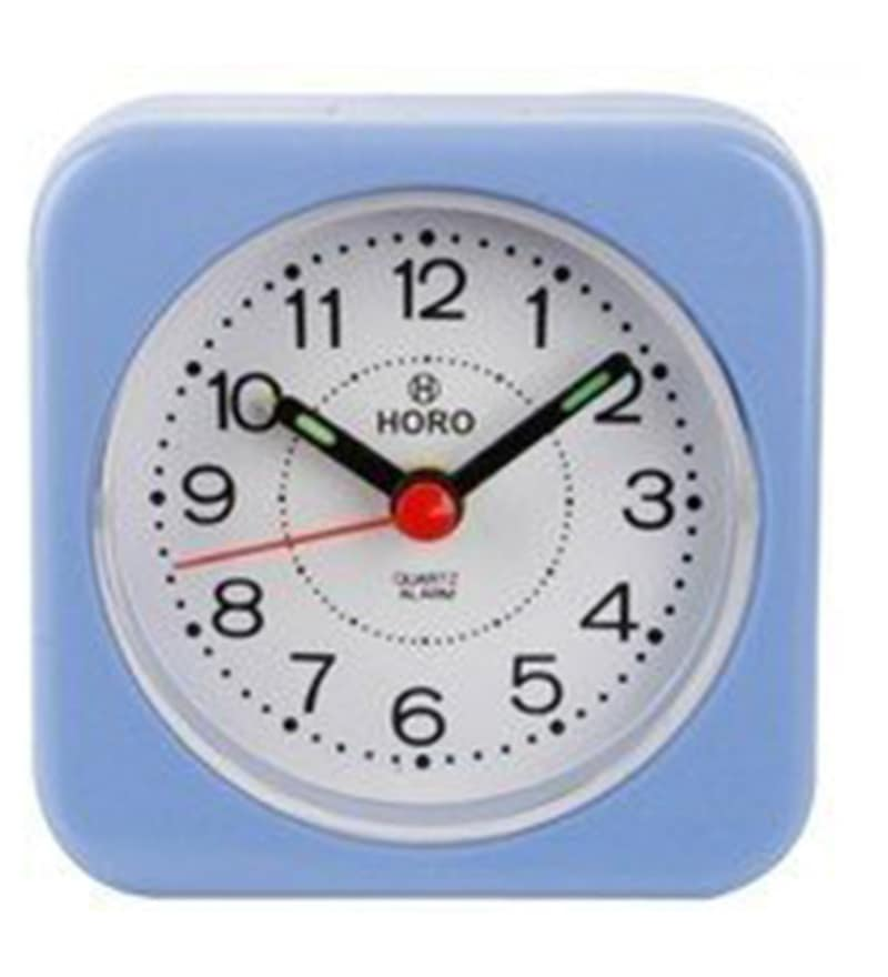 Blue Plastic 2.5 x 2.5 x 1.2 Inch Alarm Clocks  by Horo