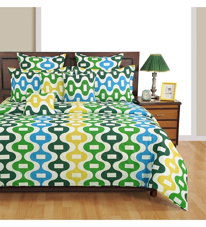 Blue Poly Cotton Single Size Bedsheet Set by Swayam