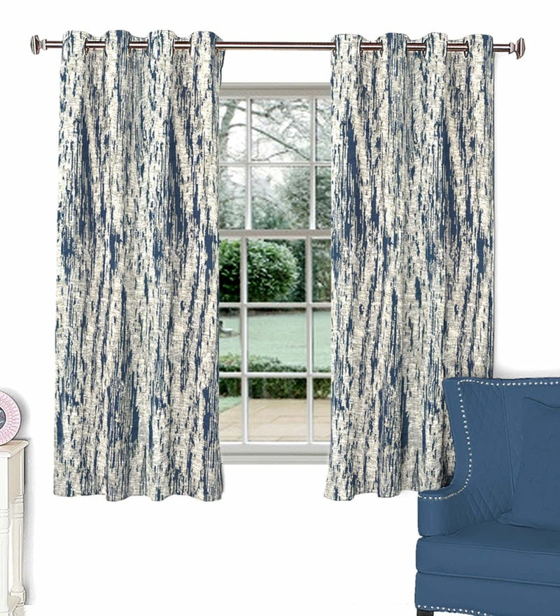 Blue Poly Cotton Window Curtain by Skipper