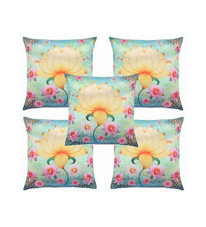 Blue Polyester 16x16 Inch Cushion Covers - Set of 5 by Dreamscape