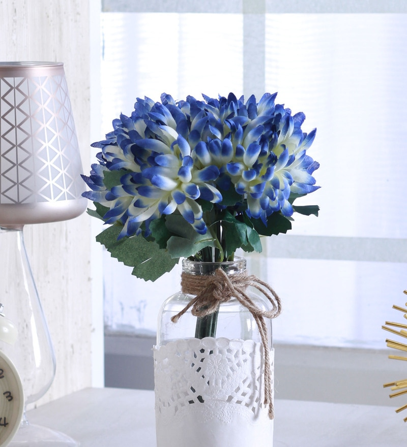 Blue Polyester Artificial Synthetic Chrysanthemum Flower Bunch by Fourwalls