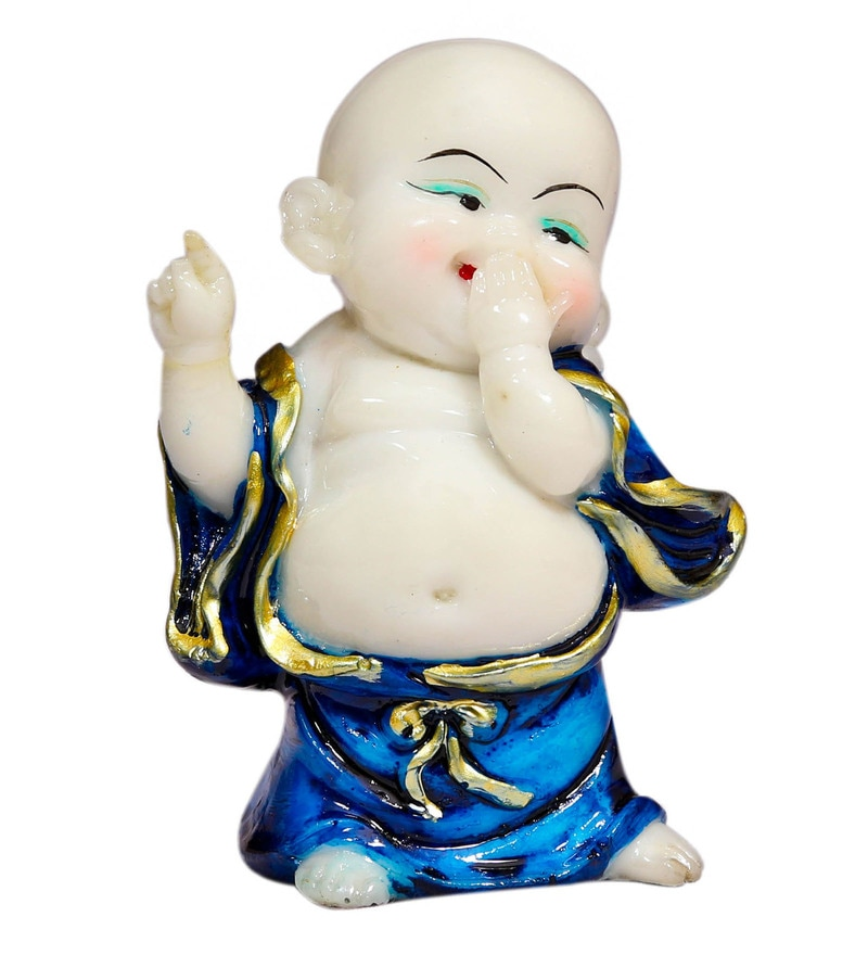 Blue Polyresin Laughing Buddha Idols by Forever