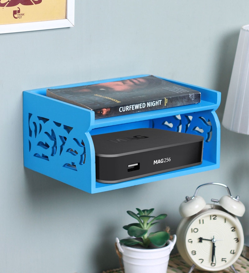 Blue Wood Double Layer Set Top Box Shelf by Zahab