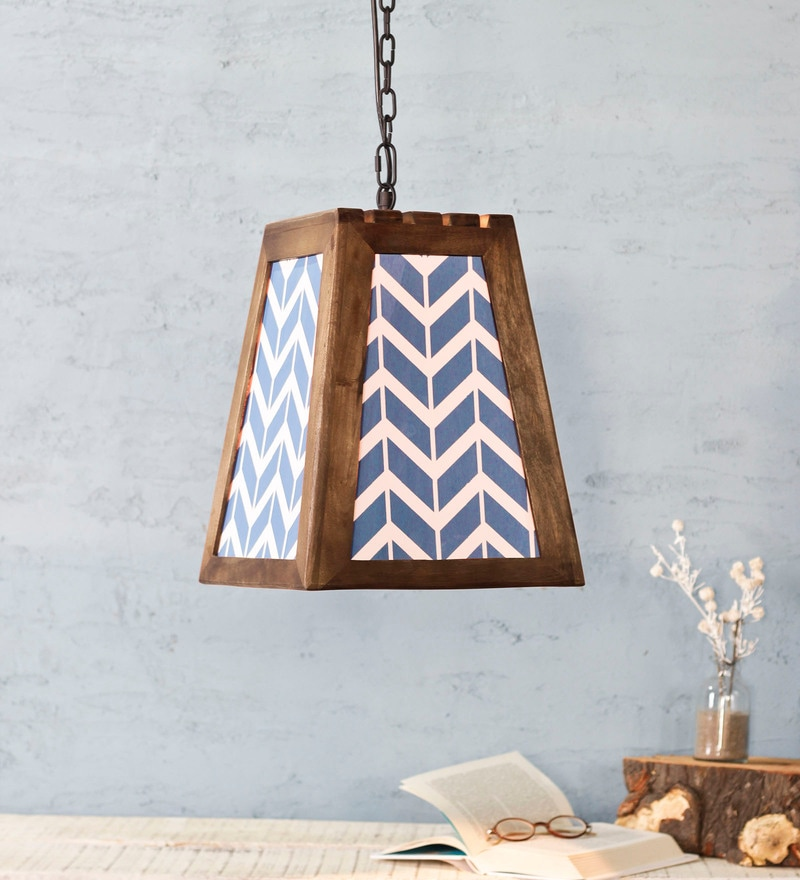 Blue Wood Hayes Pendant Lamp by Fabuliv