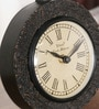Black Solid Wood Block Design Vintage Desk Clock by Ethnic Clock Makers
