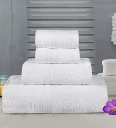 Bombay Dyeing White Cotton Towels - Set Of 4