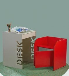 Box Kids Activity Table & Chair Set In Beige & Red Colour By Arsya Designs