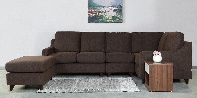 Bongo Modular Five Seater Sofa in Chestnut Brown Colour by CasaCraft