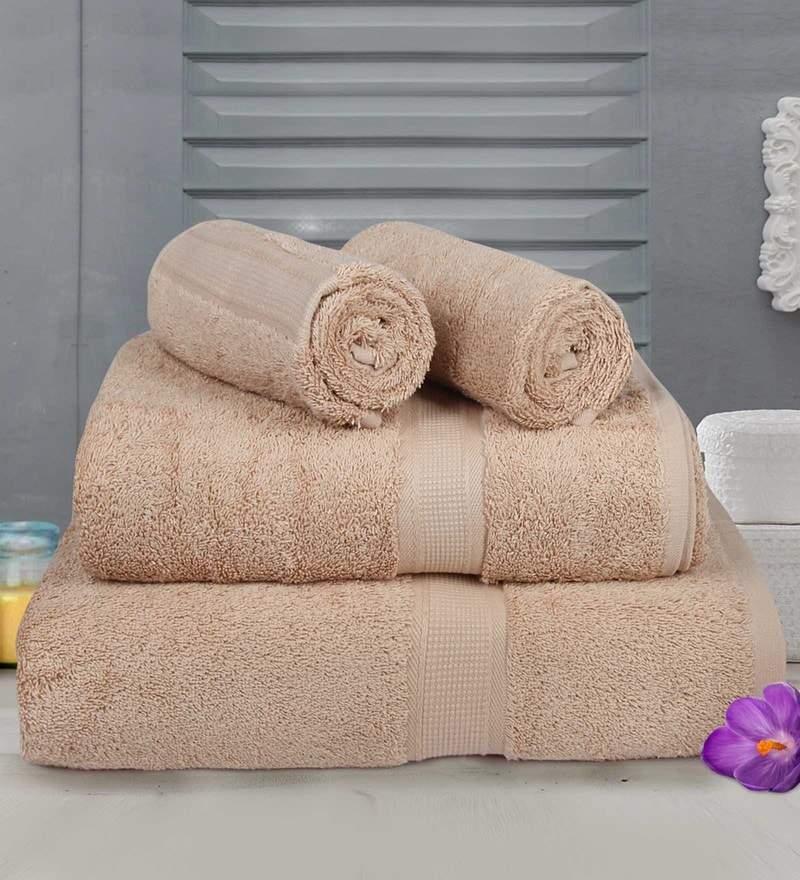 Beige Cotton Towels - Set of 4 by Bombay Dyeing