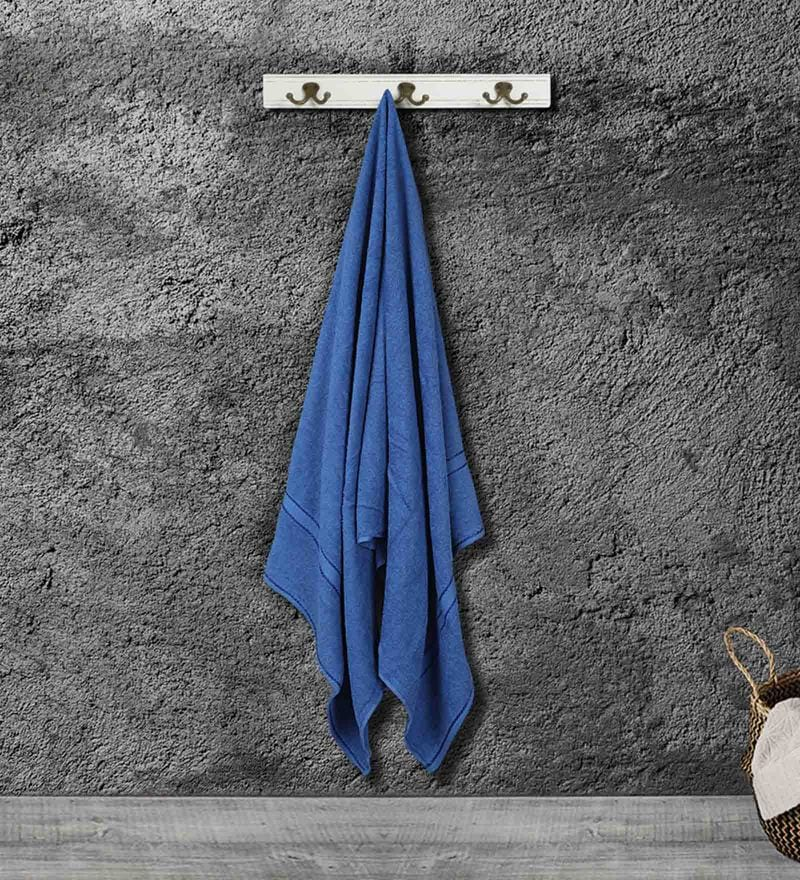 Blue Cotton 55 X 28 Inch Bath Towel by Bombay Dyeing