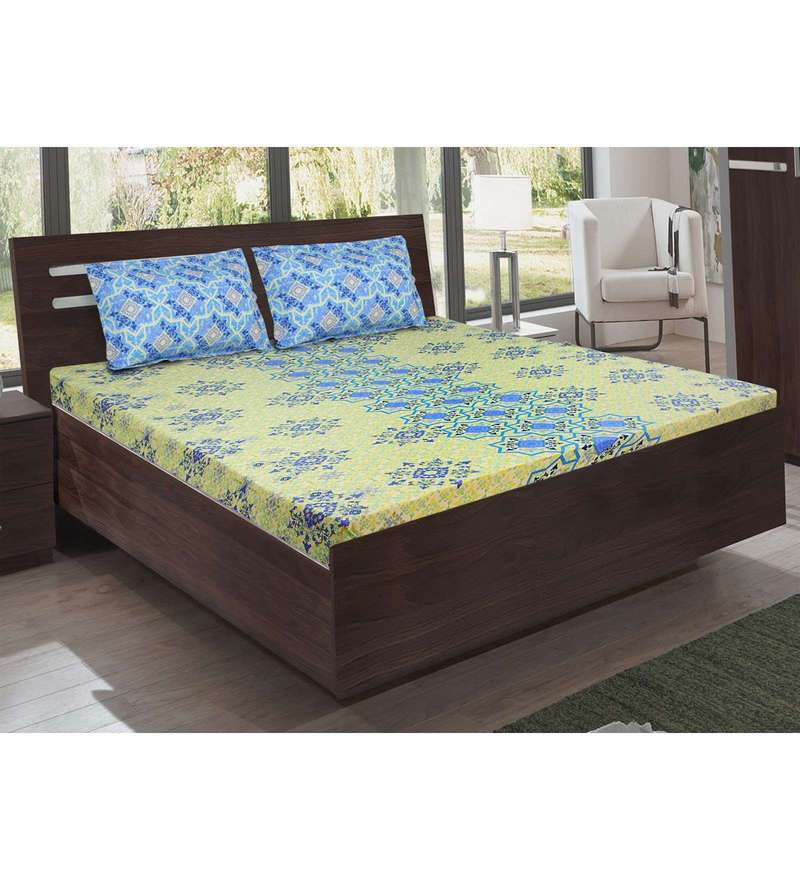 Blue Cotton King Size Bedsheet - Set of 3 by Bombay Dyeing