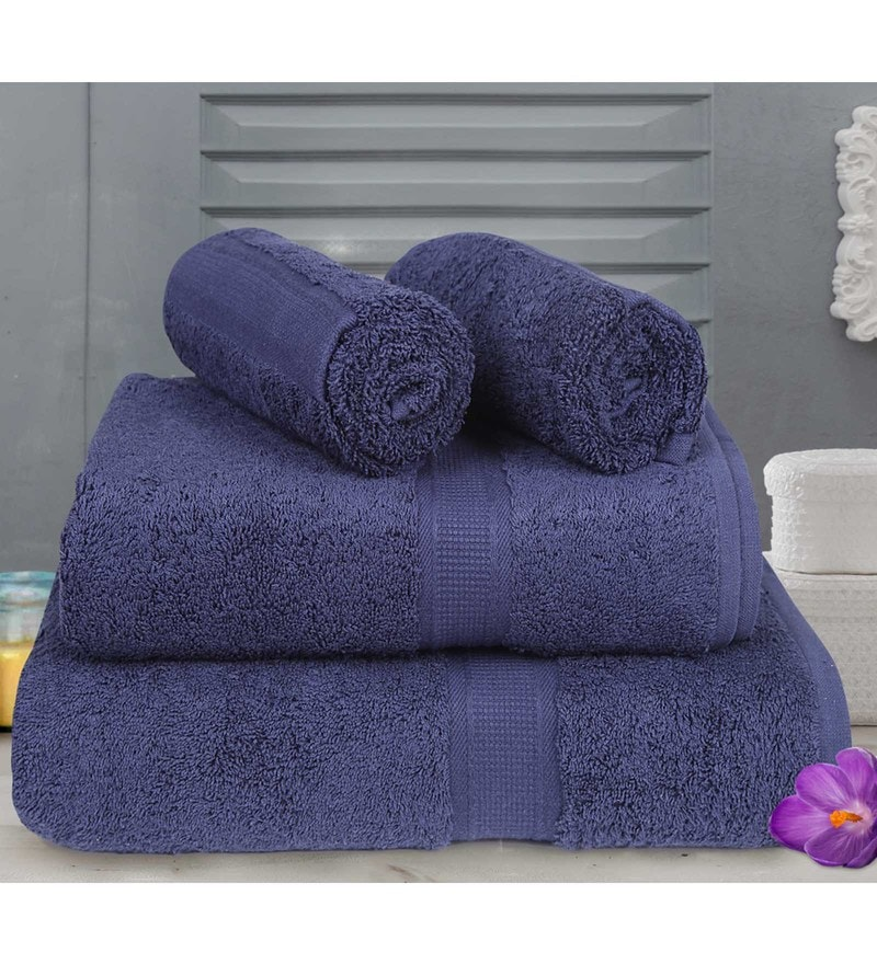Blue Cotton Towels - Set of 4 by Bombay Dyeing