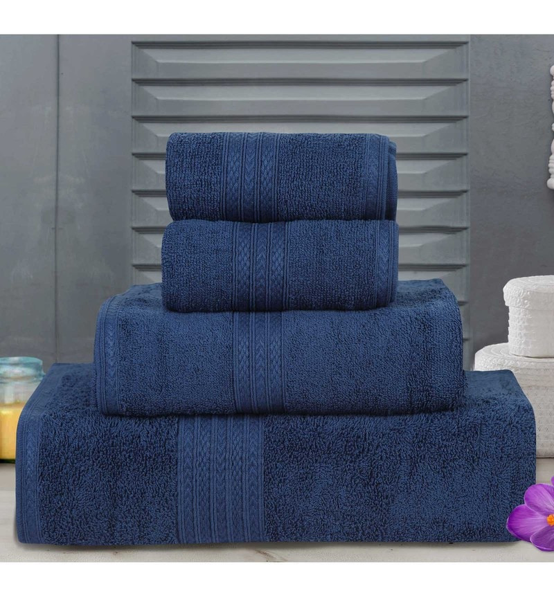 Blue Cotton Tulip Towels - Set of 4 by Bombay Dyeing
