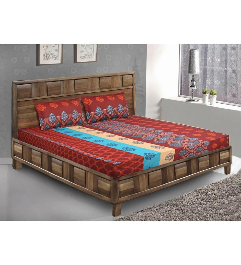 Brown Cotton King Size Bedsheet - Set of 3 by Bombay Dyeing