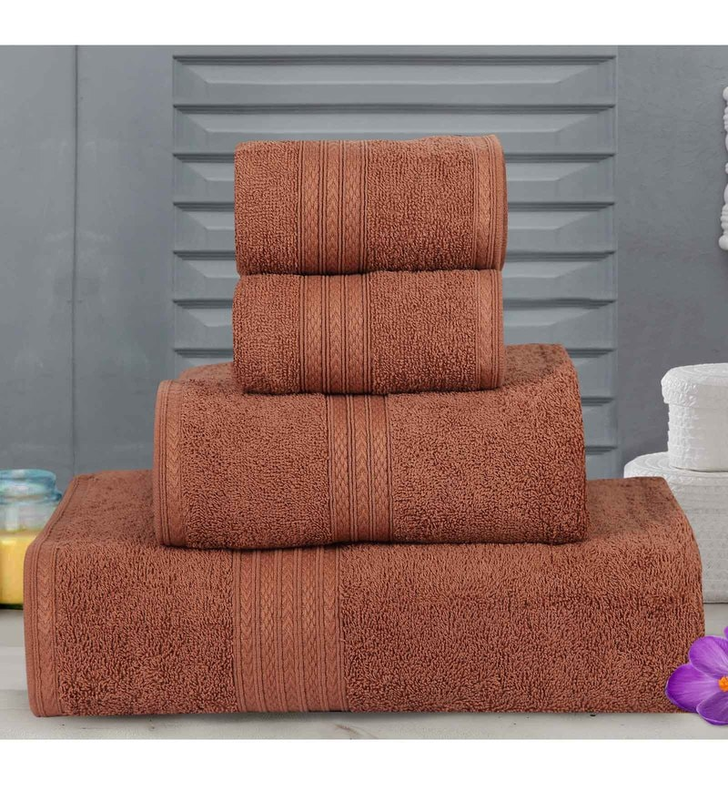 Brown Cotton Tulip Towels - Set of 4 by Bombay Dyeing