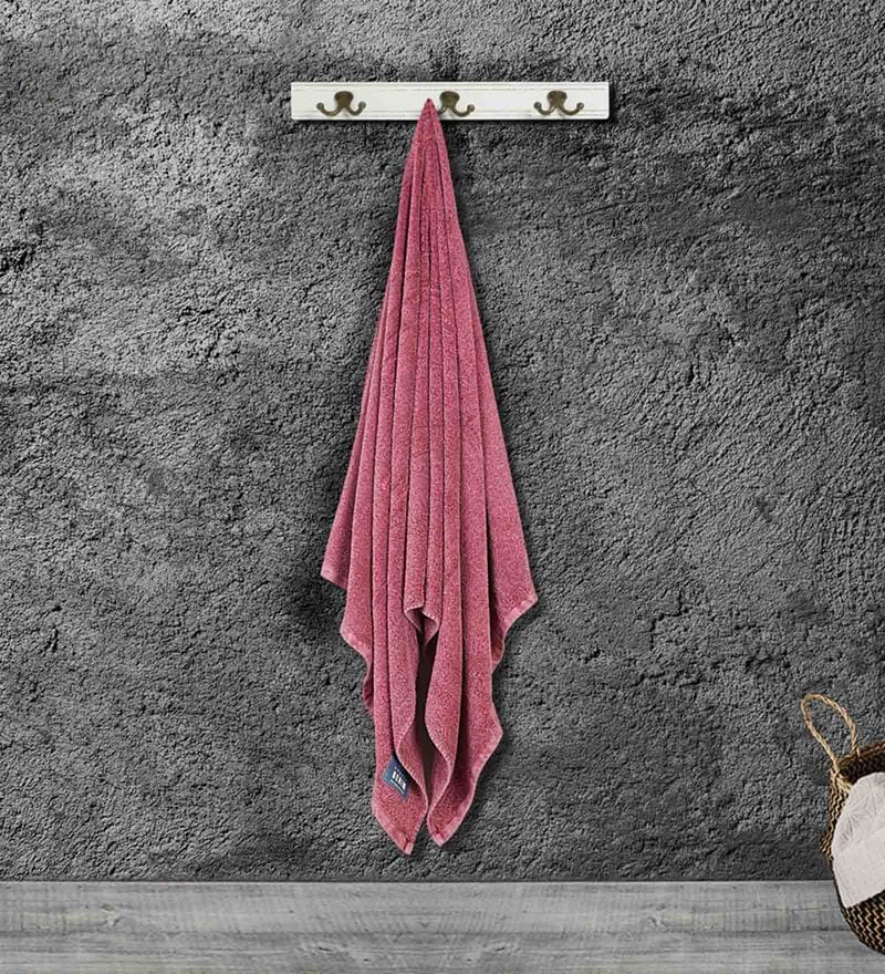 Maroon Cotton 71 X 35 Inch Bath Towel by Bombay Dyeing