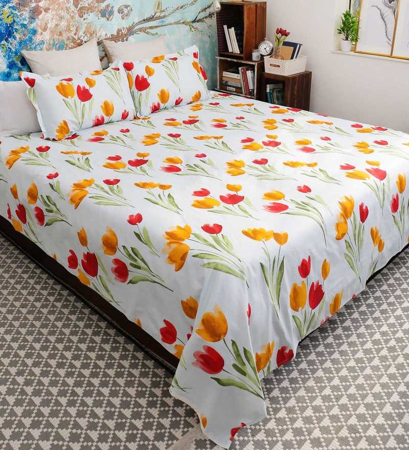 Orange 100% Cotton Queen Size Florentine Bed Sheet - Set of 3 by Bombay Dyeing