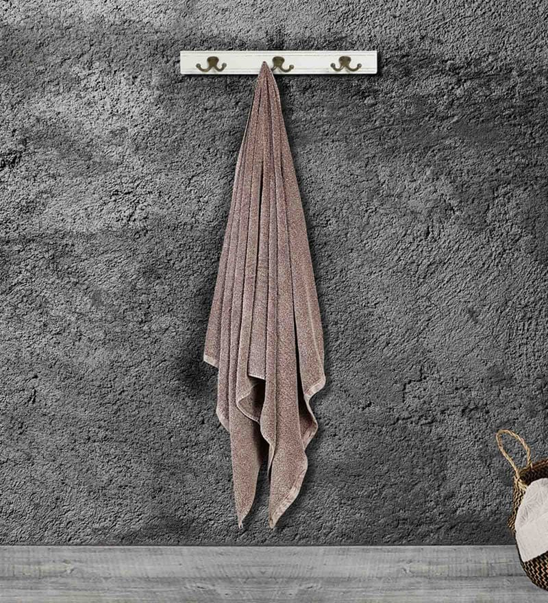 Brown Cotton 35 x 15 Inch Gym Towel by Bombay Dyeing