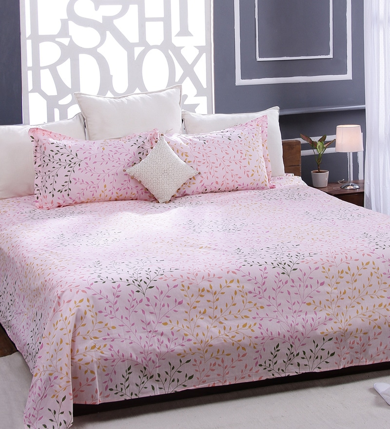 Pink 100% Cotton Queen Size Bed Sheet - Set of 3 by Bombay Dyeing