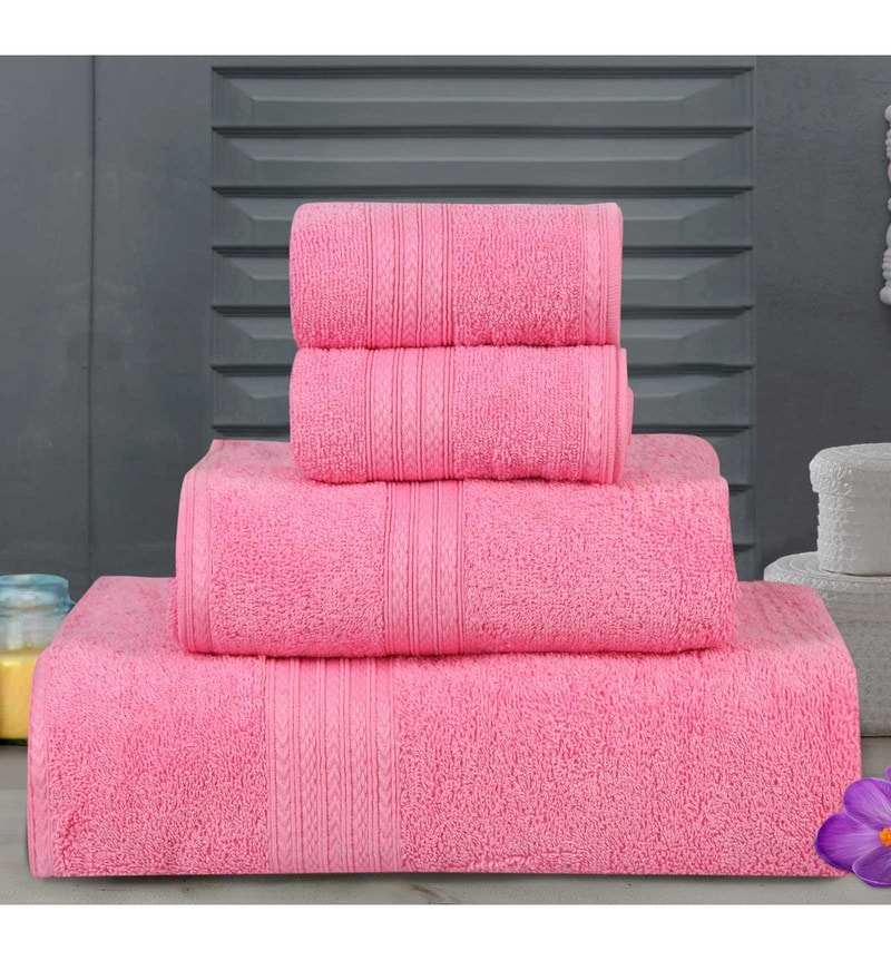 Pink Cotton Tulip Towels - Set of 4 by Bombay Dyeing